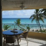 Patio at White Sands Beach Condos which is luxury short term rental in Barbados