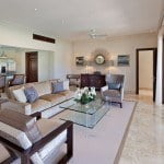 Living space which is open to Balcony at Port Ferdinand which are luxury marina residences for sale in Barbados