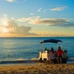 Water Taxi at Sunset at Saint Peter's Bay which are luxury residences in Barbados for sale